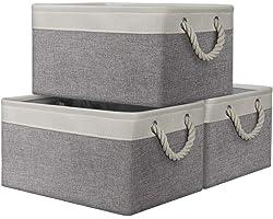AivaToba Large Storage Box, 3 Pcs Fabric Storage Basket with Handles, Waterproof Foldable, Storage Baskets Home Organizer for