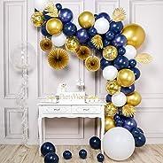 PartyWoo Ballon Or Bleu Marine, 108 pcs Feuilles, Vigne, Chaîne de Perles, Éventail, Bobo Ballon, Ballons Bleu Marine, Ballon