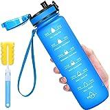 Favofit 1 Litre Bouteille d'eau de Sport avec marqueur de Temps de Motivation, Gourdes d'eau étanche avec Filtre infuseur de