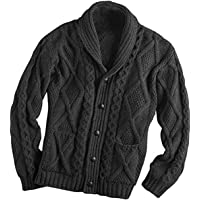 100% Merino Wool Aran Cardigan With Buttons, Charcoal