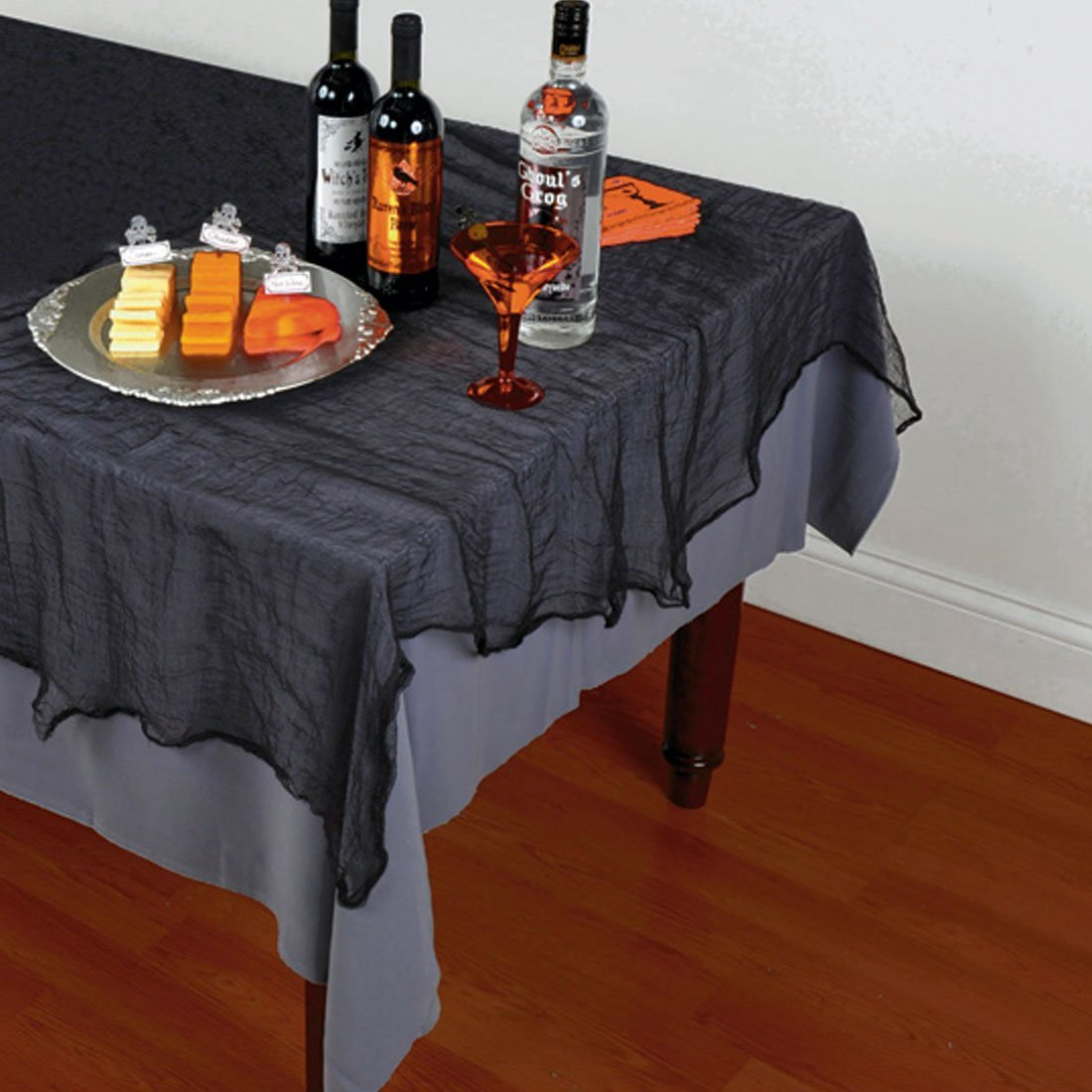 NET TOYS Halloween Tischdecke 150 x 210 cm Tischdeko Tisch Decke Tischtuch Leinenlook Halloweendeko