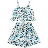 Ensemble de vêtements d'été sans manches pour petites filles, motif floral, débardeur court et pantalon long