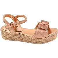 POMLIN Girls Gold Bow Platform Sandal, UK Child