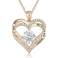 CDE Collier Femmes Amour pour Toujours Cœur Collier en Argent Sterling 925 Plaqué Or Rose Pierre de Naissance Pendentif…