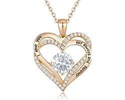 CDE Collier Femmes Amour pour Toujours Cœur Collier en Argent Sterling 925 Plaqué Or Rose Pierre de Naissance Pendentif Bijou