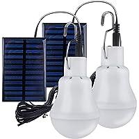 2 Stück Solar Glühbirne,TechKen Solarlampe LED Licht Tragbare Birne Solarlampen Lämpchen 3 W,3 m Ladekabel Solar Panel…