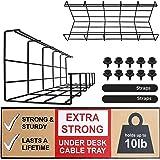 Kabelkorf voor Onder het Bureau - Kabels Organiseren en Draden Beheren. Metaaldraad Kabelgoot voor op Kantoor en Thuis (Zwart