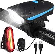OMERIL Luci Bicicletta LED Ricaricabili USB con Clacson, Luce Bici Anteriore e Posteriore Super Luminoso Luce Bici LED per Bi