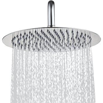 Derpras Round Rain Shower Head 304 Stainless Steel Ultra Thin