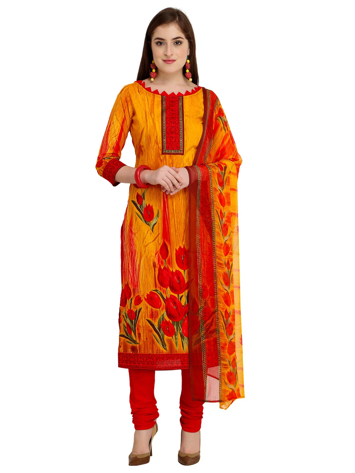 Kanchnar Women's Cotton Yellow Unstitched Salwar Suit