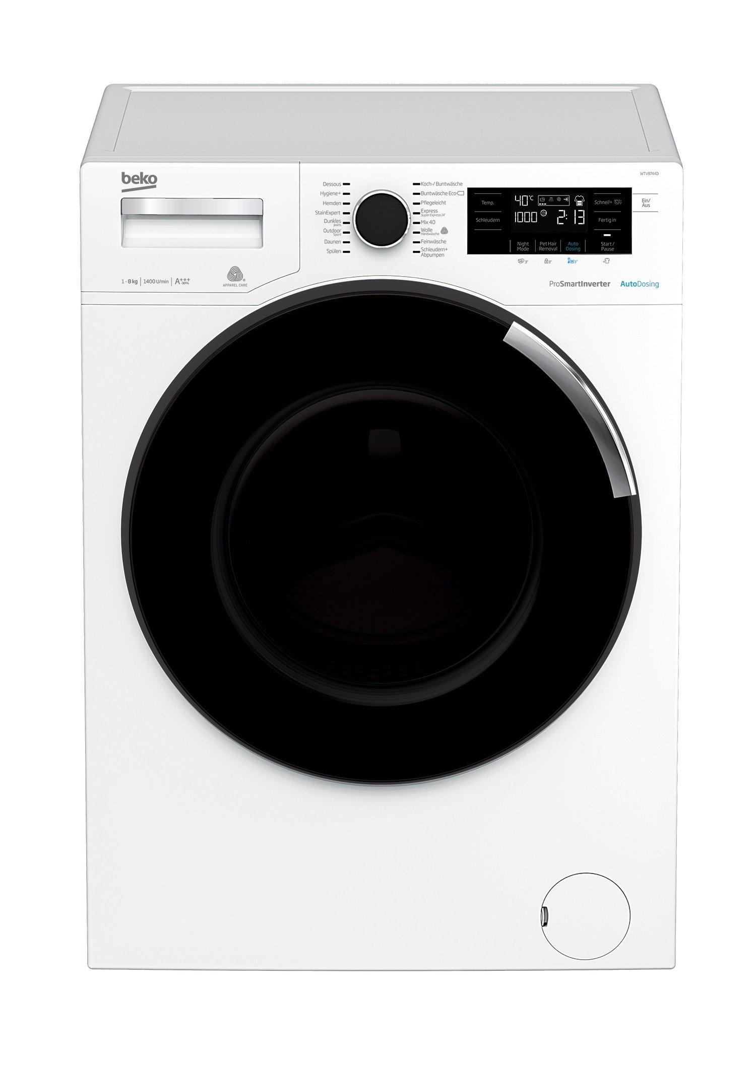Beko WTV8744D Waschmaschine Frontlader, 8 kg Füllmenge, Dosierautomatik