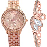 ZUPERIA Girls/Women's Diamond Studded Analogue Watch with Rose Gold SWAN Bracelet