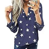Blusas Mujer Primavera 2021 Fossen - Camisa a Cuadros Camiseta de Manga Larga con Cuello en V Top de Originales