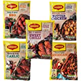 Maggi Seasoning and Cooking Bag for Juicy Chicken 5 Bag Set – 1x Mexican, 1x Sweet Chilli, 1x Garlic, 1x BBQ and 1x Butter Ch