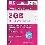 Telekom MagentaMobil Prepaid M SIM-kaart zonder contractbinding I incl. 2 GB & Flat (min, SMS) in het teleom mobiele netwerk,