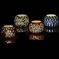 Brahmz® Glass Tea Light Candle Holder Home Decoration Mosaic Multi Color Candle Votive Mosaic Turkish Work Glass Candle…