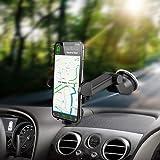 Support Téléphone Voiture Ventouse, Rotation à 360 Degré Ventouse Pour Telephone Voiture au Pare-brise et Tableau de bord GPS pour Samsung iPhone Huawei HTC Sony etc Support Voiture Réglable Portable