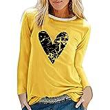 CORAFRITZ Túnica casual con estampado de corazón para mujer para polainas de manga larga, camiseta holgada de moda