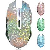 TENMOS M2 Inalámbrico Ratón, Recargable con Silencioso Ratón óptico Gaming Wireless Mouse con Receptor Nano 6 Botones para Or