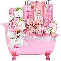 Coffret Bain et Corps-Panier-Cadeau de 8 Pièces au Parfum de Fleur de Cerisier et de Jasmin, Coffret Cadeau Parfait pour les Femmes