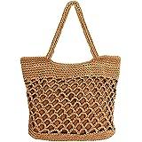 ZLM BAG US Baumwoll-Häkeltasche für den Strand, Bohemian-Stil, handgefertigt, mit Tragegriff oben, klein, für den Sommer
