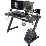 IntimaTe WM Heart Bureau Gaming, Z Bureau Gamer d'Ordinateur, Ergonomique Gaming PC Table Fibre de Carbone,Table Gamer pour L