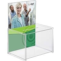 SIGEL VA150 Boîte à donations en acrylique, porte-affiche pour A4, 22,5 x 31 x 17 cm, transparent