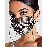 Simsly - Mascherina in rete con strass scintillanti, colore nero, riutilizzabile, per Halloween, discoteca, decorazione per i
