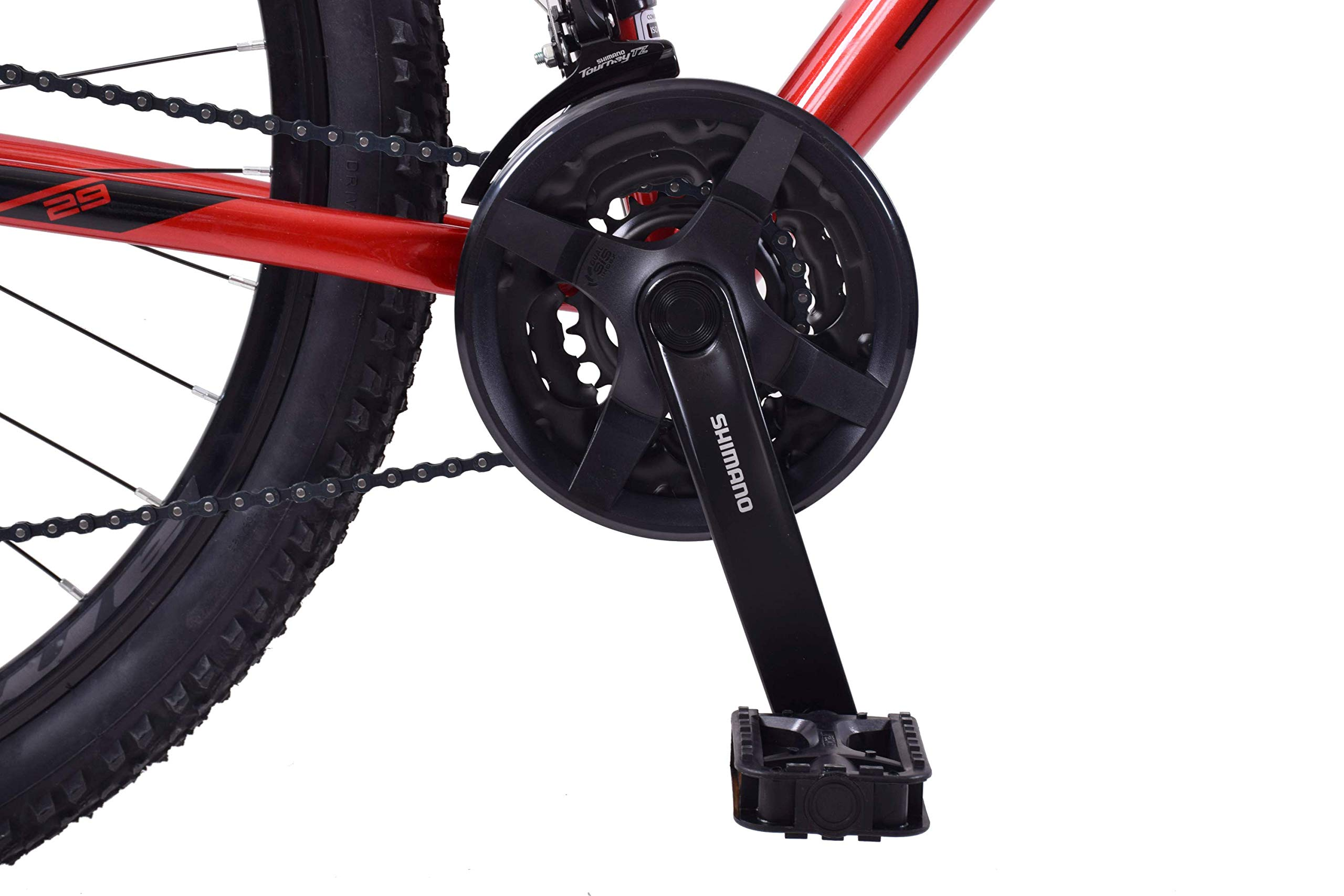"71XAL4y8l9L - Ammaco. Team 4.0 29"" 29er Mens Mountain Bike Front Suspension Disc Brakes 23"" Frame Alloy Red/Black"