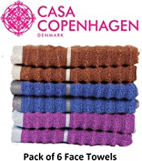 Casa Copenhagen Linea Ribbed Premium Zero Twist Cotton 600 GSM 6 Piece Face Towel Set - Toffee,Purple & Midnight Blue