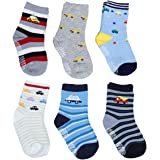 PIKIPOO Baby Boy's Cotton Anti Skid Socks (Multicolor, 3 Years) - Pack of 6