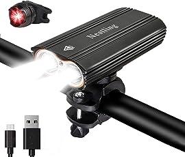 HUAYUU LED Fahrradlicht USB aufladbar Set,Ultra Hellen Wasserdicht 2400 Lumen Sport und Rücklicht einfach zu montieren,3 Lichtmodi, Frontlicht und Rücklicht Kombination für Nachtfahrer,Radfahren und Camping