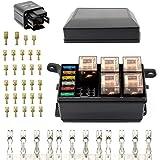 Dedc Auto Sicherungskasten 12 Stecker Relais Box Relaishalter Für 6 Relais Und 6 Atc Ato Sicherungen Mit 41pcs Metall Steckverbinder Für Auto Auto