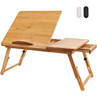 Hiveseen Table de Lit Ordinateur Portable Pliable 100% Bambou avec Tiroir, Hauteur et Angle Réglables, Plateau de Lit…