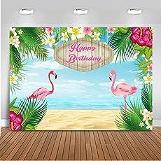 Mehofoto Alles Gute zum Geburtstag Hintergrund 7x5ft Flamingo Seaside Bunte Blumen Foto Kulissen Neugeborenes Baby Dusche Kinder Geburtstag Fotografie Hintergrund