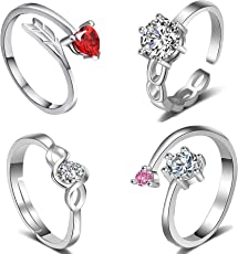 Om Jewells Red Alloy Rings for Women (Pack of 4)