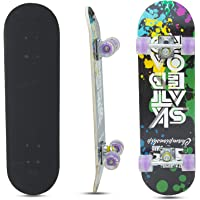 Baybee Wooden Skateboard with Colorful LED Light Up Wheels - Skateboard Complete Longboard Double Kick Skate Board Cruiser 7 Layer Maple Deck for Extreme Sports and Outdoors (Violet)