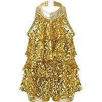 inlzdz Kids Girls Sequins Halter-Neck Backless Jazz Latin Dance Tassel Dress Samba Tango Modern Dance Performance…