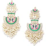 Priyaasi Traditional Multicolor Gold-Plated Drop Earrings For Women and Girls