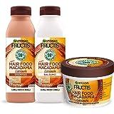 Garnier Fructis Hair Food Macadamia Lisciante, Kit con Shampoo, Balsamo e Maschera per Capelli Difficili da Lisciare, 98% di