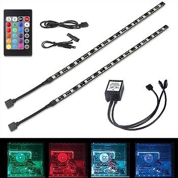 Speclux, 2 pz, RGB, luce computer desktop PC a LED computer case Mid tower kit con fascette contelecomando a 24 tasti, RGB 5050SMD LED lampada flessibile striscia magnetica