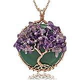 CrystalTears - Collar con colgante de árbol de la vida con piedra natural y colgante redondo para mujer de chakras, cristal c