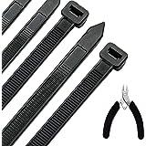 Kabelband 300 mm x 7,6 mm UV-resistenta ultrastarka kabelband med 50 kg draghållfasthet, svart förpackning med 100 värmetålig