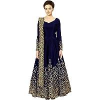 Sojitra Enterprise Women's Taffeta Silk Semi Stitched Blue colour Anarkali Gown (Free Size)