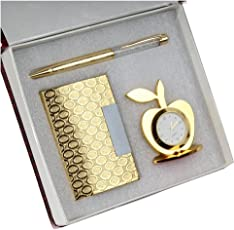 Far Vision 3 in 1 Premium Gift Set of Golden & Silver Apple Clock with Crystal Pen And Business Card Holder with premium packaging . ON SALE NOW !