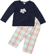 FUNKRAFTS Flower Applique Print Girls Full Sleeves Navy Blue/Pink Night Suit