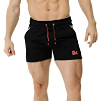 "BROKIG Mens 5"" Gym Fitness Shorts Running Workout Short Pants Elastic Waistband with Pockets"