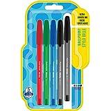 Paper Mate 1956735 - Bolígrafos con capuchón, punta fina de 0.7mm, paquete de 5, colores surtidos estándares