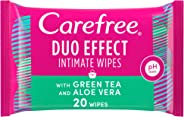 CAREFREE Daily Intimate Wipes, Duo Effect with Green Tea and Aloe Vera, Pack of 20 Wipes
