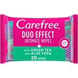 CAREFREE Daily Intimate Wipes for feminine hygiene care , Duo Effect with Green Tea and Aloe Vera, Pack of 20 Wipes